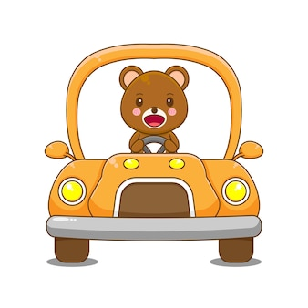 Voiture de conduite de caractère ours.
