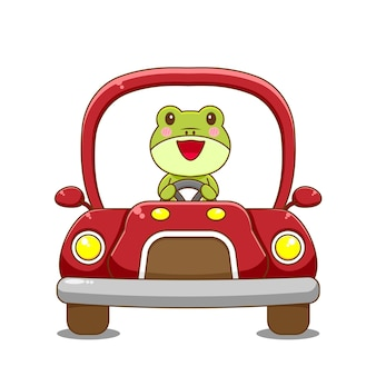 Voiture de conduite de personnage de grenouille.