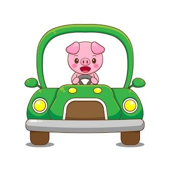 Voiture de conduite de personnage de porc.