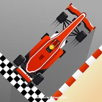 Voiture de course f1 a franchi la ligne d'arrivée