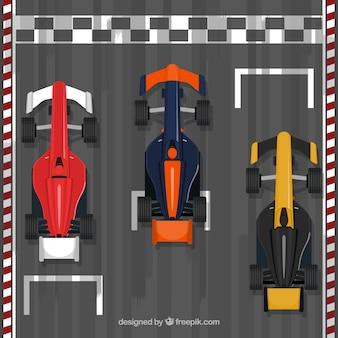 Voiture de course de formule 1 à la ligne d'arrivée avec un design plat