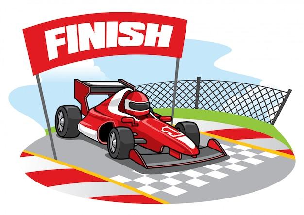 La voiture de course de formule atteint la ligne d'arrivée