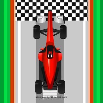 Voiture de course rouge moderne f1 franchit la ligne d'arrivée