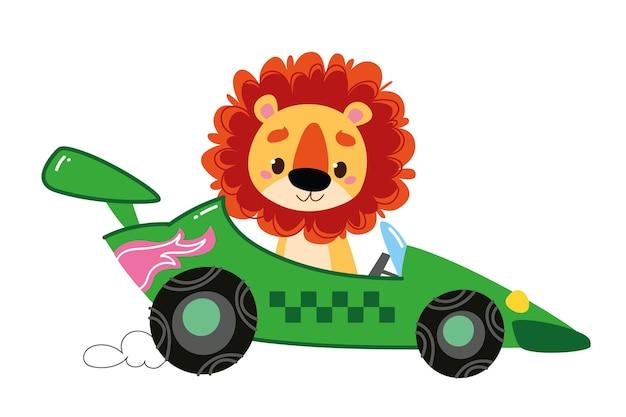 Voiture de course verte de dessin animé moderne de vecteur. au volant, le conducteur est un animal - un lion. logo drôle et mignon d'enfants automatiques. impression garçonne - pour vêtements, cartes postales, bannières. lecteur de clipart comique