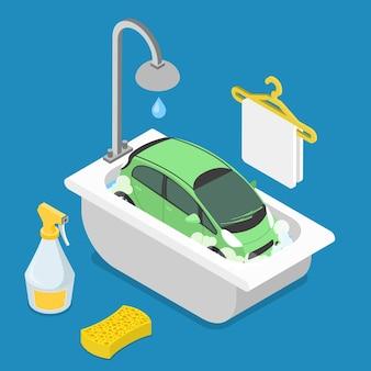 Voiture dans la salle de bain bain douche éponge détergent nettoyant nettoyant mousse mousse propre