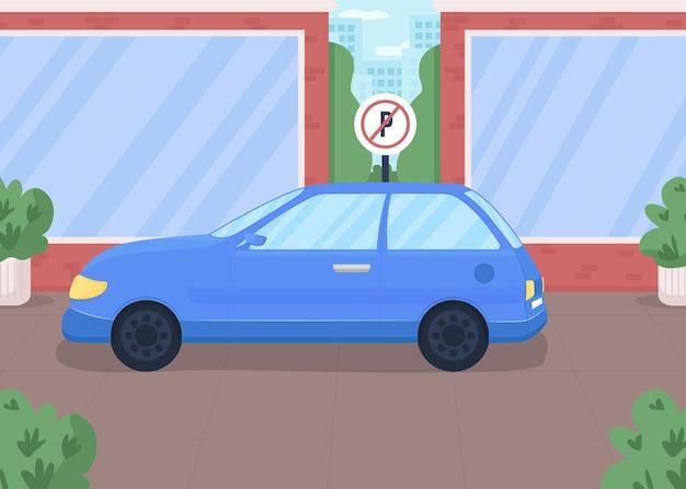 Voiture dans la zone de stationnement interdite illustration couleur plate. panneau routier pour la réglementation de la sécurité. zone restreinte pour véhicule. route urbaine avec paysage urbain de dessin animé 2d automobile avec skyline, sur fond