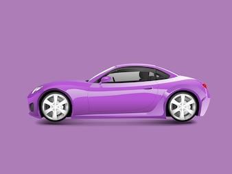 Voiture de sport mauve dans un vecteur de fond violet