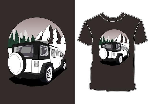 La voiture, le design du t-shirt