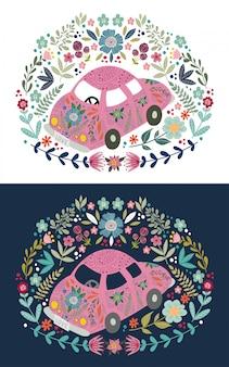 Voiture de dessin animé mignon dessiné à la main avec beaucoup d'éléments floraux et de motifs. doodle plat