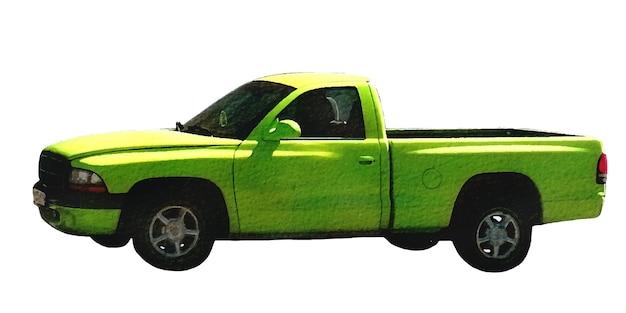 Voiture deux places aquarelle avec une carrosserie vert clair