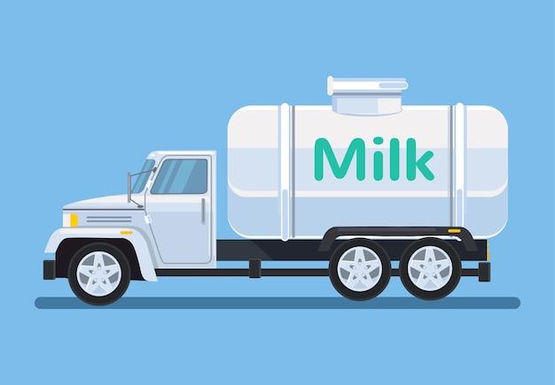 Voiture avec du lait, illustration de dessin animé plat