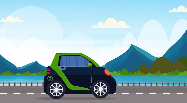 Voiture électrique conduite autoroute route écologique véhicule propre transport environnement soins concept belle montagnes rivière paysage fond horizontal