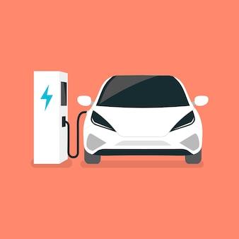 La voiture électrique moderne se recharge sur une borne de recharge pour véhicule électrique ev.