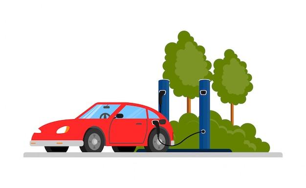 La voiture électrique rouge est chargée avec un chargeur. transport respectueux de l'environnement. fond blanc.