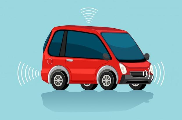 Une voiture électrique rouge