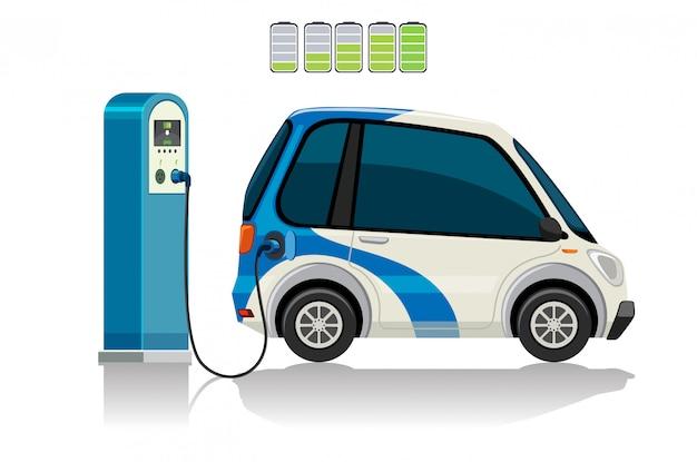 Une voiture électrique à la station de charge