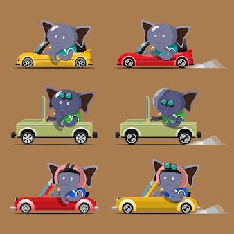 Voiture d'entraînement animal mignon de bande dessinée sur la route