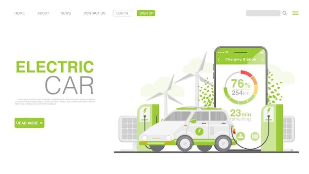 Voiture ev ou voiture électrique à la page de destination de la station de charge