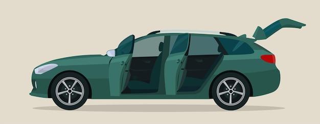 Voiture familiale avec portes ouvertes pour le conducteur et le passager, vue latérale.