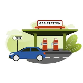 Une voiture a fini de faire le plein à la station d'essence