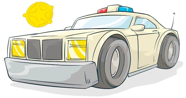 Voiture de flic de dessin animé cool et badge doré