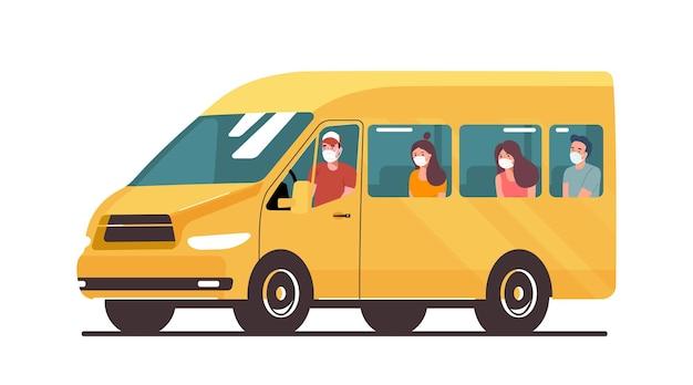 Voiture fourgon avec passagers dans un masque médical isolé. illustration vectorielle.
