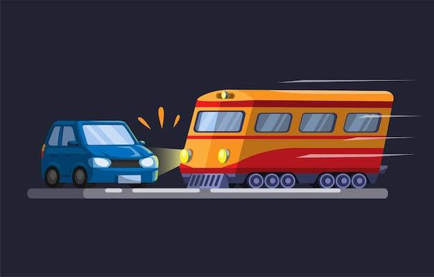 Voiture heurtée par un train accidenté au passage d'un train