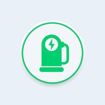 Voiture, icône de station de recharge ev