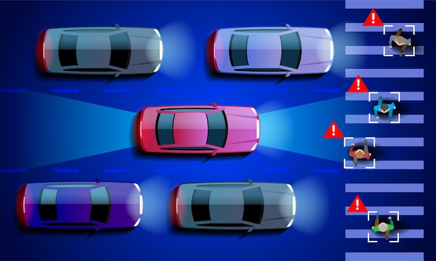 La voiture intelligente autonome scanne la route et la machine s'arrête automatiquement au passage pour piétons de la ville. .