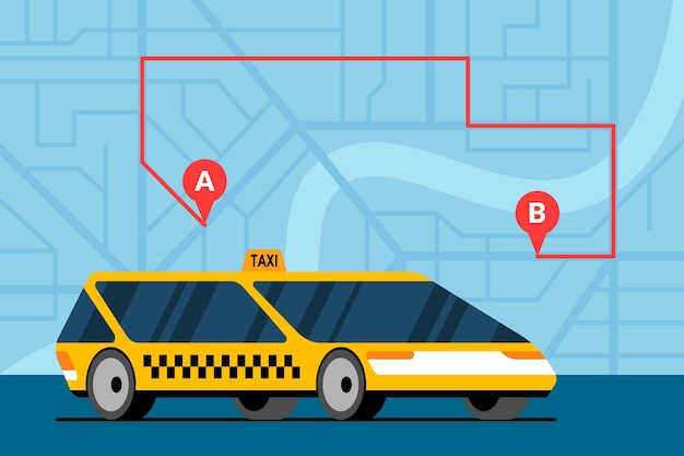 Voiture jaune moderne sur le plan de la ville avec itinéraire a à b et repères de navigation gps icônes d'emplacement. service de taxi de commande d'application de navigation en ligne. obtenez un modèle eps d'illustration vectorielle plate de taxi