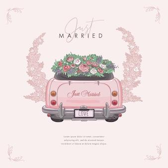 Voiture de mariage dessinée à la main, juste mariée