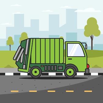Voiture à ordures dans la ville