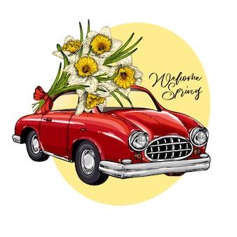 Voiture de pâques de vecteur conduisant un bouquet de jonquilles.