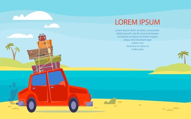 La voiture part en voyage avec une valise sur le toit modèle de bannière avec la mer