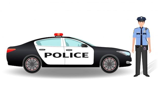 Voiture de patrouille de police et officier policier isolé sur blanc