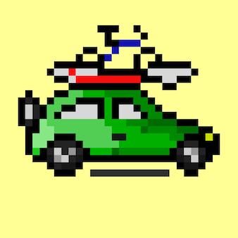 Une voiture avec planche de surf et vélo au sommet avec un style pixel art