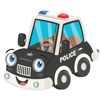 Voiture de police drôle de bande dessinée posant