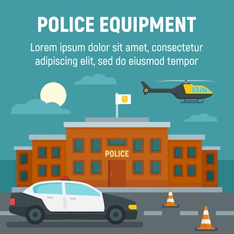Voiture de police, hélicoptère, gabarit d'immeuble de bureaux, style plat
