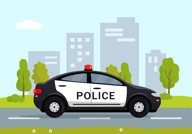 Voiture de police noire dans la ville. flic, voiture de policier, automobile de patrouille de policier.