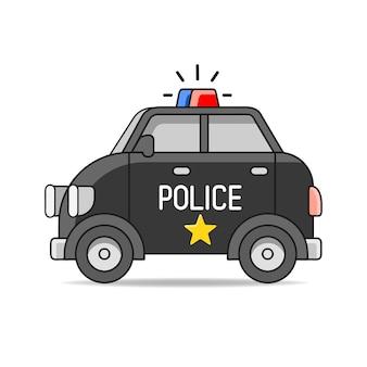 Voiture de police de vecteur illustration de plat de vecteur isolé sur fond blanc. élément de design dessiné à la main pour étiquette et affiche