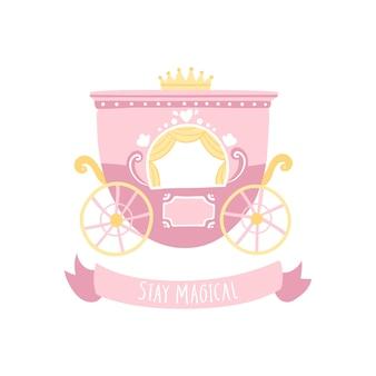 Voiture de princesse royale dans un style scandinave de dessin animé. rester magique
