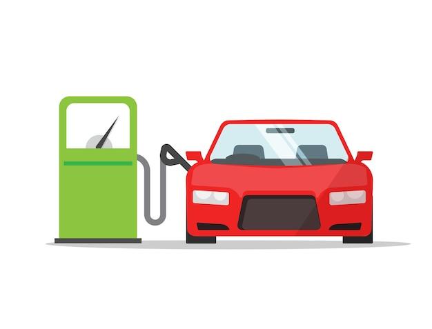 Voiture de ravitaillement en carburant sur l'icône de station-service de gaz caricature plate, remplissage de véhicule