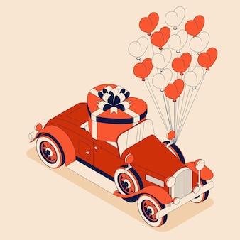 Voiture rétro décapotable avec boîte-cadeau en forme de coeur et de nombreux ballons.