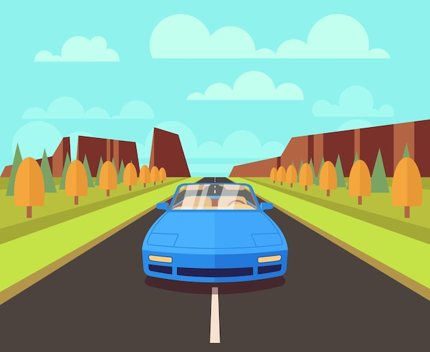 Voiture sur route avec paysage extérieur dans un style plat