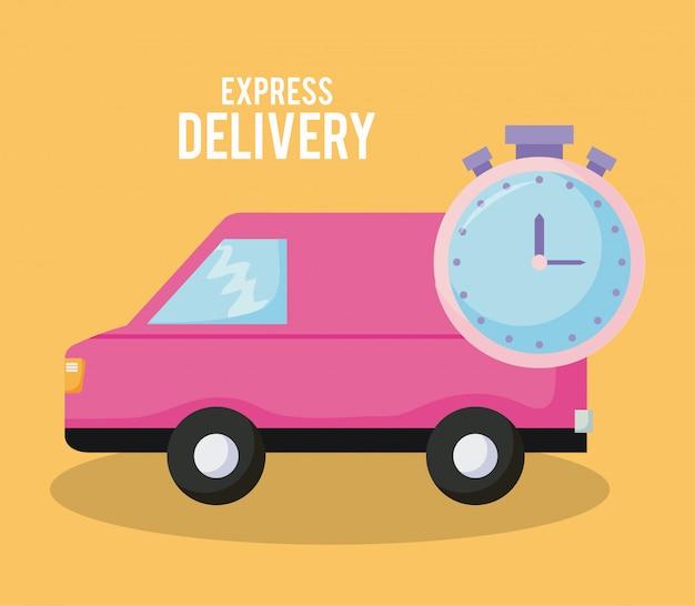 Voiture de service de livraison avec chronomètre