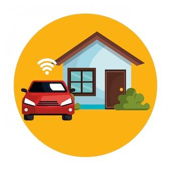 Voiture avec signal wifi et maison