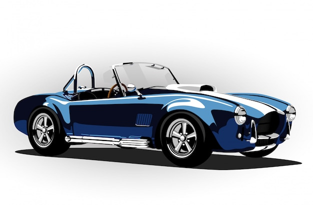 Voiture de sport classique cobra roadster bleu