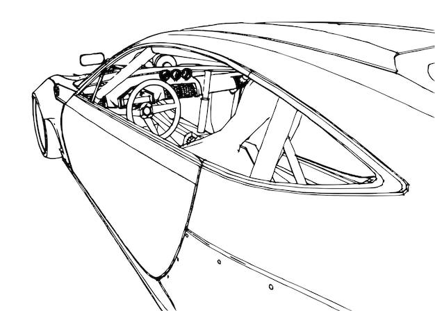 Voiture de sport. illustration stock dans le style des graphiques linéaires dessinés à la main.