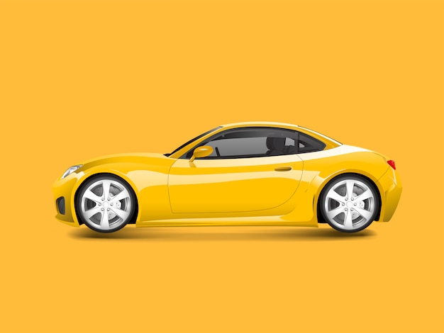 Voiture de sport jaune dans un vecteur de fond jaune
