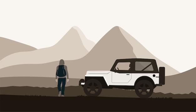 Voiture suv et un homme avec un sac à dos au paysage de montagne.